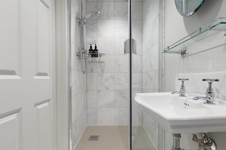 Calacatta Marble Shower Room Design Installation Jeremy Colson Bathrooms Surrey