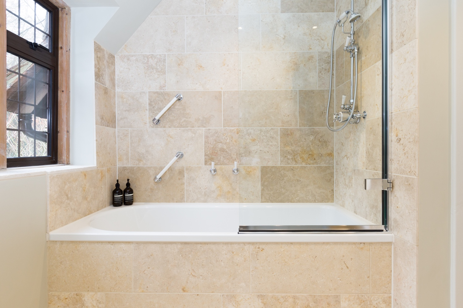 Timeless Limestone Family Bathroom Design Installation