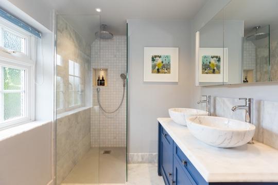Marble wet room design installation jeremy colson for Bathroom design surrey
